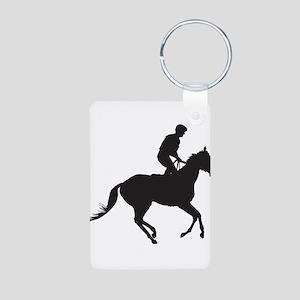 Jockey Silhouette Aluminum Photo Keychain