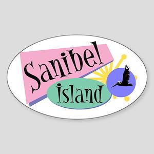 Sanibel Retro Pelicans - Oval Sticker