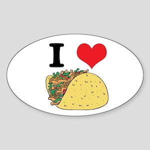 I Heart (Love) Tacos Oval Sticker
