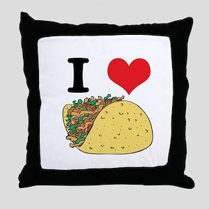I Heart (Love) Tacos Throw Pillow