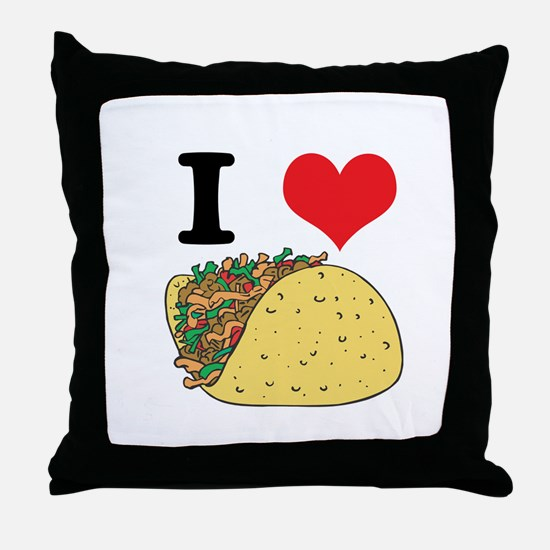 I Heart (Love) Tacos Throw Pillow