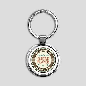 Guitar Player Vintage Round Keychain