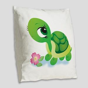 Toshi the Turtle Burlap Throw Pillow