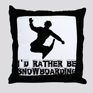 Snowboarding Throw Pillow