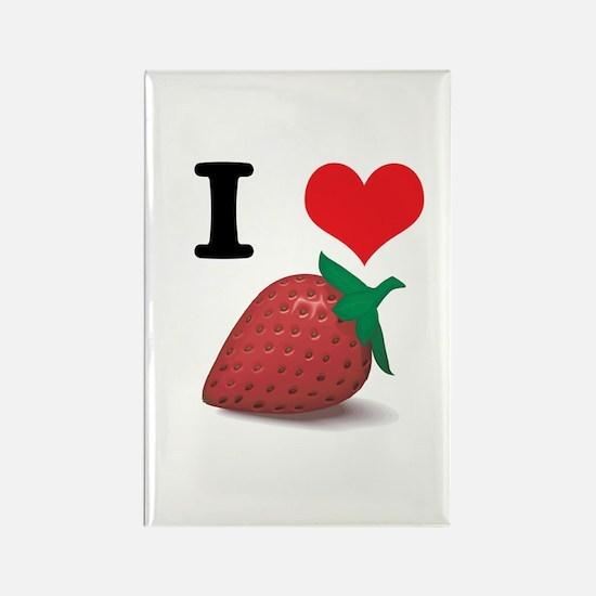 I Heart (Love) Strawberries Rectangle Magnet