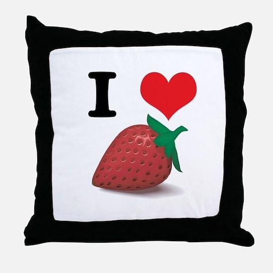 I Heart (Love) Strawberries Throw Pillow