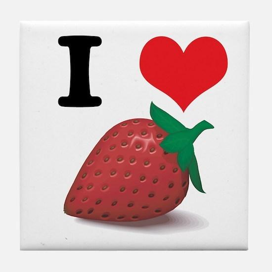 I Heart (Love) Strawberries Tile Coaster