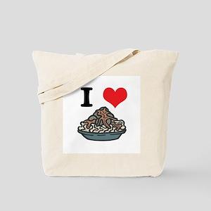 I Heart (Love) Spaghetti and Meatballs Tote Bag