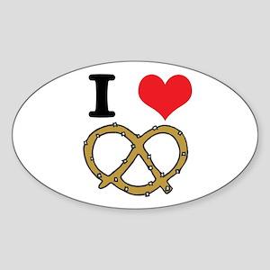 I Heart (Love) Pretzels Oval Sticker