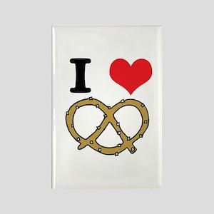 I Heart (Love) Pretzels Rectangle Magnet