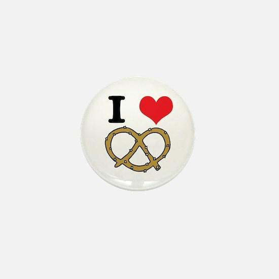 I Heart (Love) Pretzels Mini Button