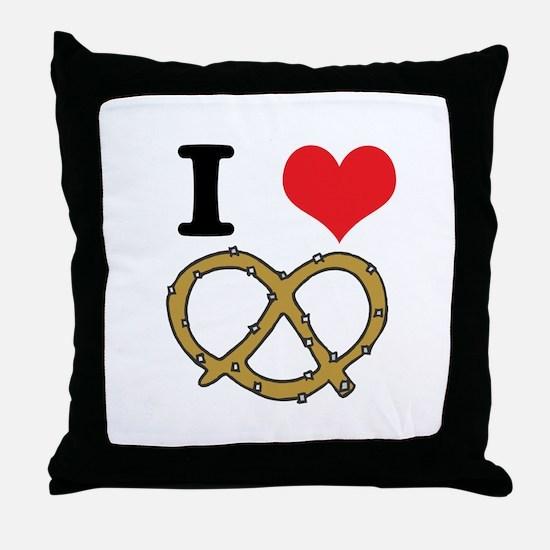 I Heart (Love) Pretzels Throw Pillow
