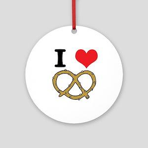 I Heart (Love) Pretzels Ornament (Round)