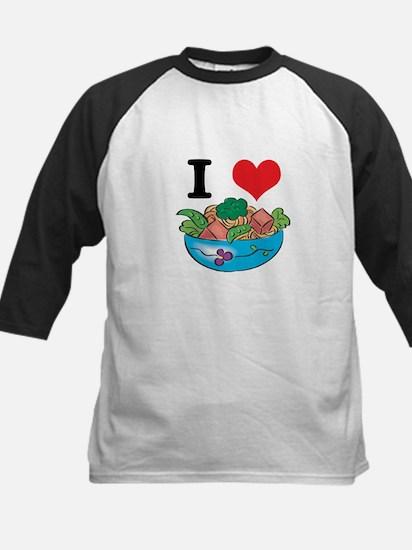 I Heart (Love) Salad Kids Baseball Jersey
