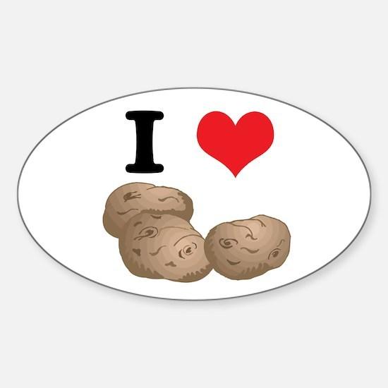 I Heart (Love) Potatoes Oval Decal