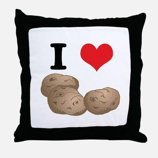 I Heart (Love) Potatoes Throw Pillow