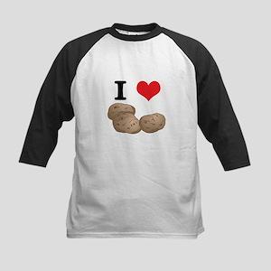 I Heart (Love) Potatoes Kids Baseball Jersey