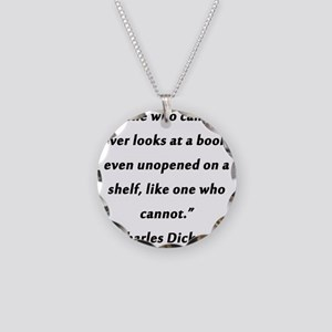 Dickens On Reading Necklace Circle Charm