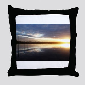 Breaking Dawn Over Still Lake Water Throw Pillow