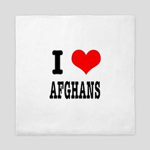 I Heart (Love) Afghans Queen Duvet