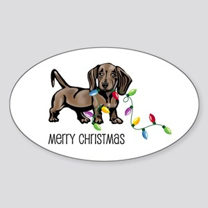 Dachshund Christmas Lights Oval Sticker
