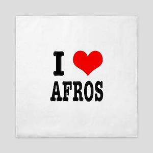 I Heart (Love) Afros Queen Duvet