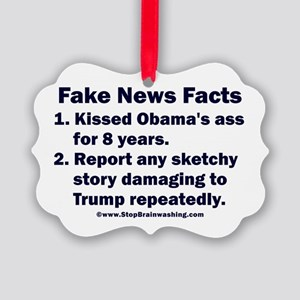 Fake News Facts Picture Ornament