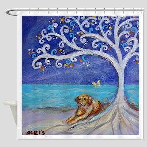 Golden Retriever Spiritual Tree Shower Curtain