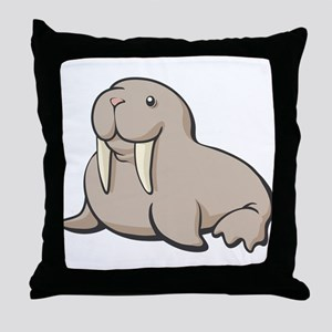 Cartoon Walrus Throw Pillow