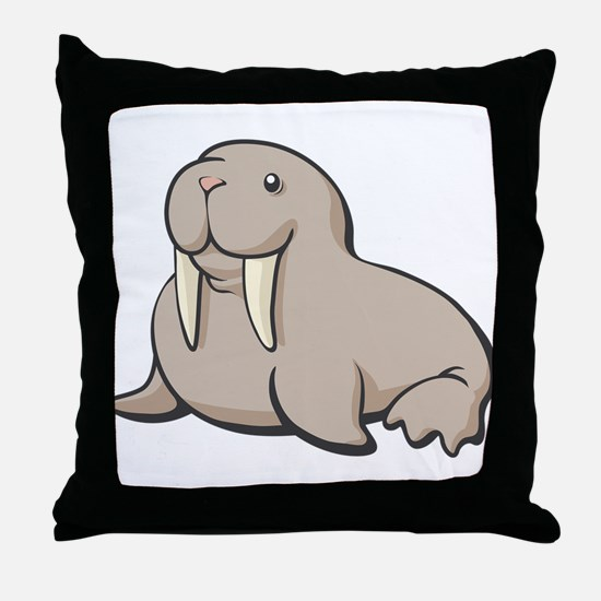 Cartoon Walrus Throw Pillow