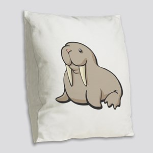 Cartoon Walrus Burlap Throw Pillow