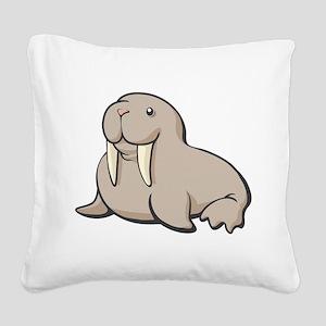 Cartoon Walrus Square Canvas Pillow