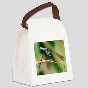 Blue Dasher Skimmer Dragonfly Canvas Lunch Bag