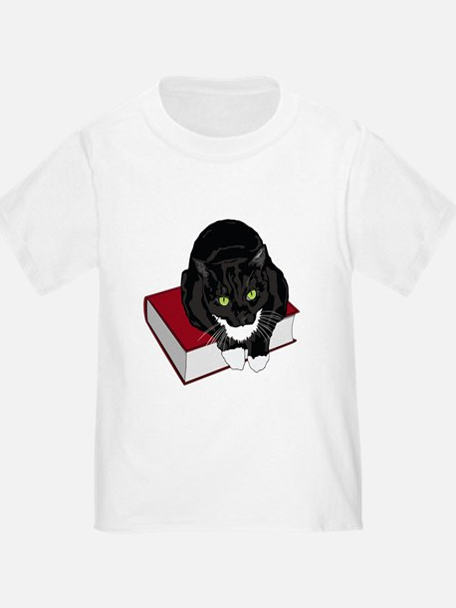 Tuxedo Cat Resting On Book T-Shirt