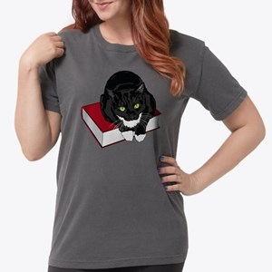 Tuxedo Cat Book Buddy Womens Comfort Colors Shirt