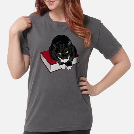 Tuxedo Cat Book Buddy Womens Comfort Colors Shirt