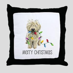 Doodle Christmas Lights Throw Pillow