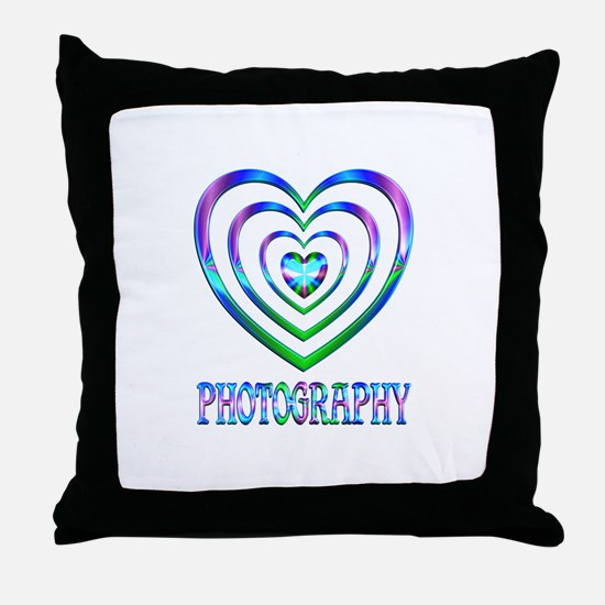 Photography Hearts Throw Pillow