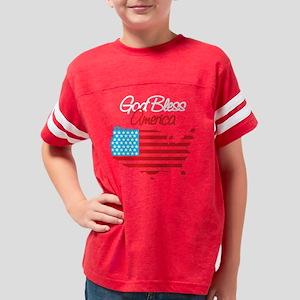 God Bless America map, black  Youth Football Shirt