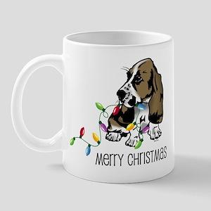 Basset Christmas Lights Mug