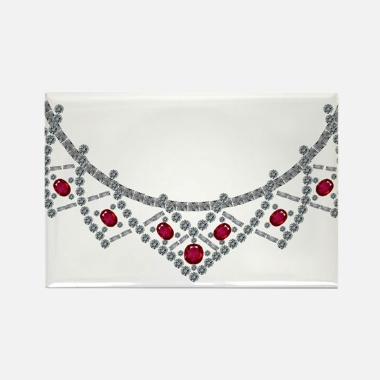 1950s Ruby and Diamond Necklace Rectangle Magnet