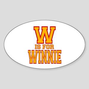 W is for Winnie Oval Sticker