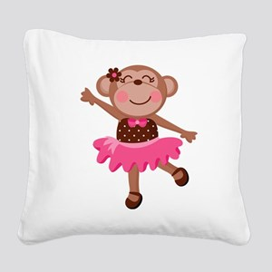 Monkey Ballerina Square Canvas Pillow