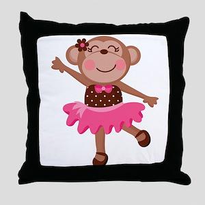Monkey Ballerina Throw Pillow