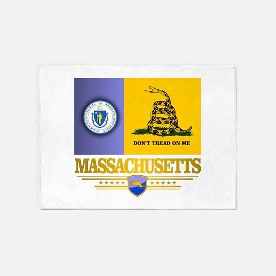 Massachusetts Gadsden Flag 5'x7'Area Rug