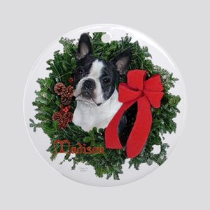 Boston Terrier Christmas Ornament (Round)