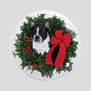 Boston Christmas Keepsake/Ornament (Round)