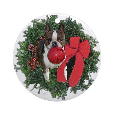 Boston Terrier Wreath Ornament (Round)