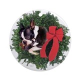 Boston terrier christmas Round Ornaments