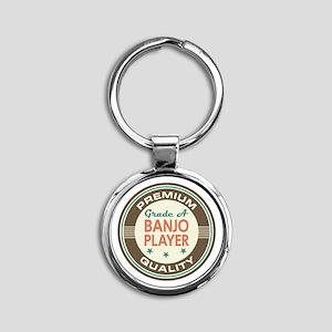 Banjo Player Vintage Round Keychain